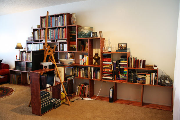 make a bookshelf mountain