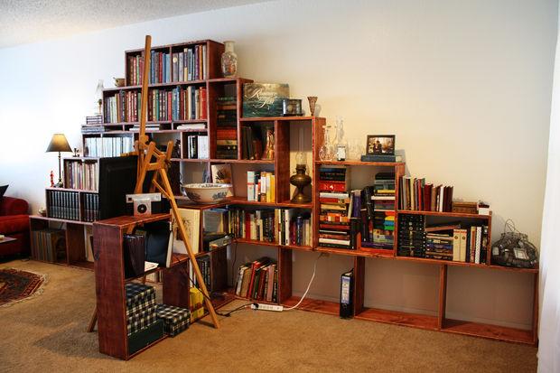 make a bookshelf mountain